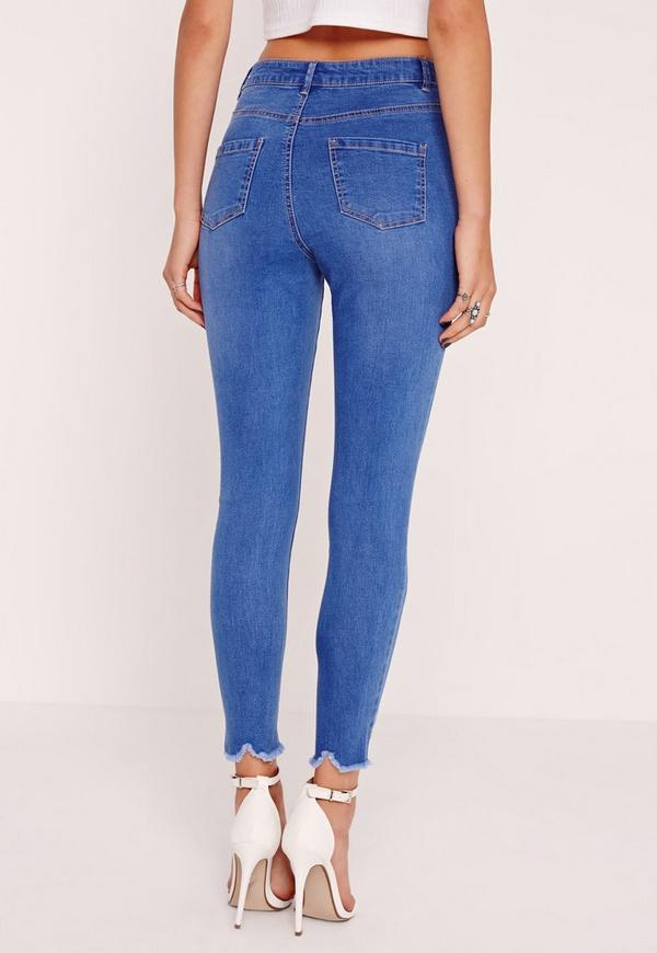 Petite Sinner High Waisted Destroyed Hem Skinny Jeans Blue ...
