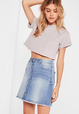 Crop top gris Petite manches revers