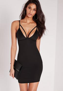 Petite Scuba Strappy Bust Cup Bodycon Dress Black