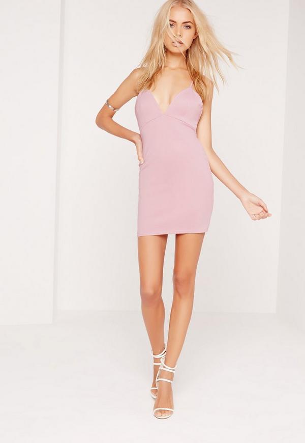 Petite Exclusive Scuba Strappy Bodycon Dress Lilac