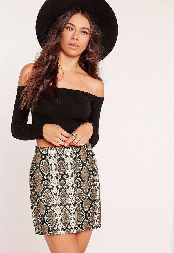 Petite Snake Print Scuba A Line Skirt Multi