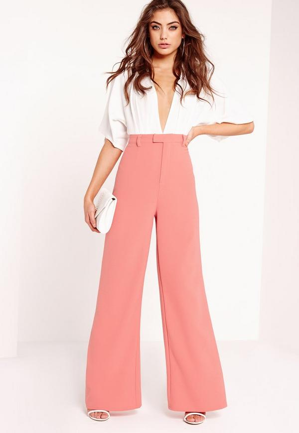 Petite Premium Crepe Wide Leg Trousers Pink