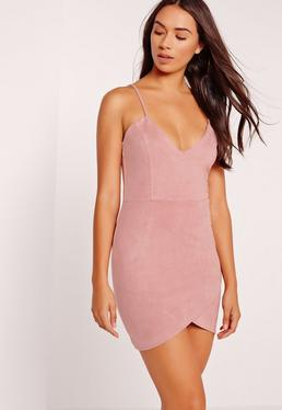 Petite Faux Suede Mini Dress Pink
