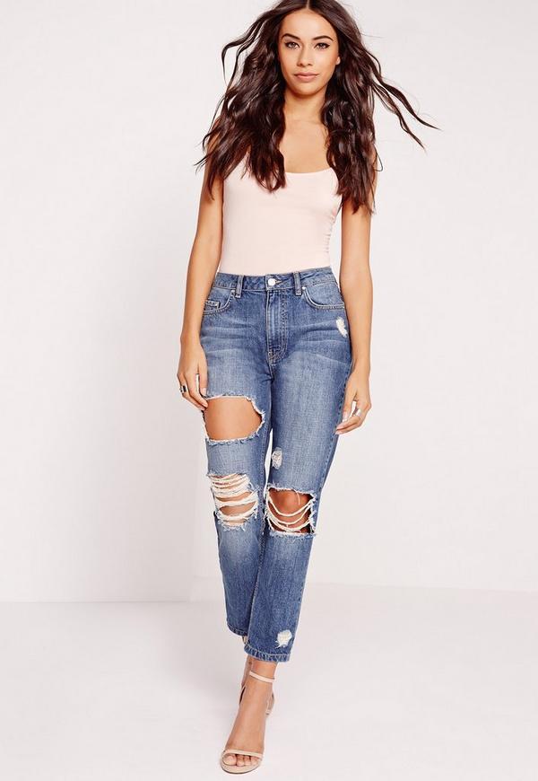 Petite Riot High Rise Crop Distress Slim Leg Jeans Vintage Blue