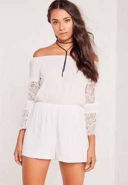 Petite Crepe And Lace Long Sleeve Playsuit White