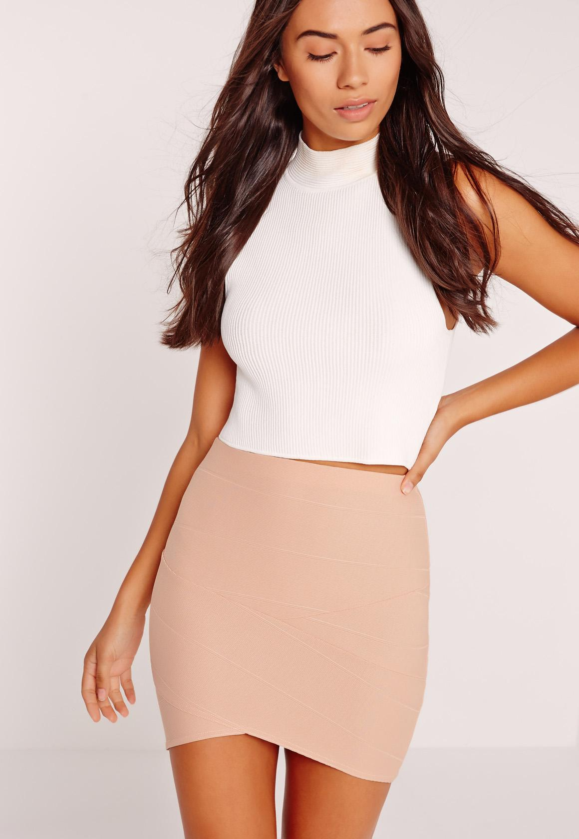 Petite Asymmetric Bandage Mini Skirt Nude | Missguided