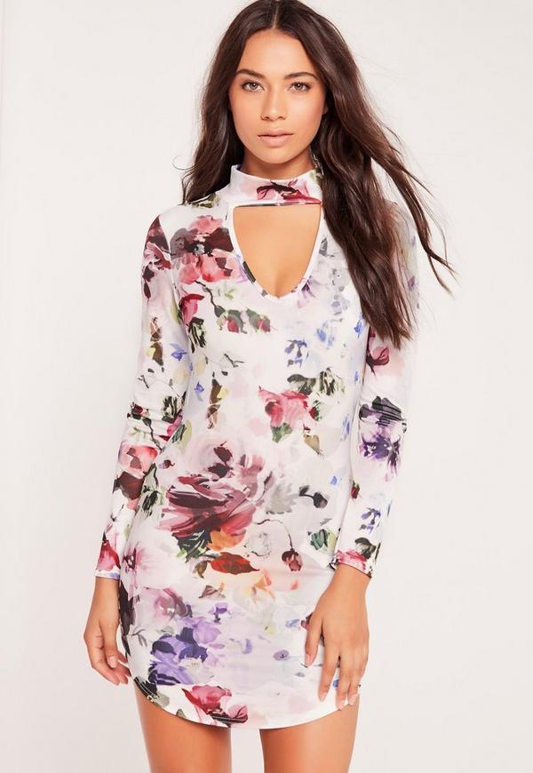 Petite Exclusive Floral Print Choker Neck Bodycon Dress White