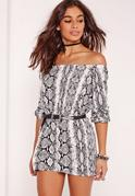 Petite Exclusive Snake Print Bardot Playsuit Grey