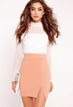 Petite Scuba Split High Waist Mini Skirt Nude