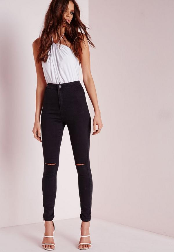Petite Vice High Waist Rip Knee Jeans Black