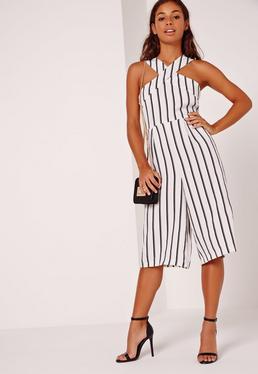 Petite Exclusive Stripe Cross Front Culotte Jumpsuit White
