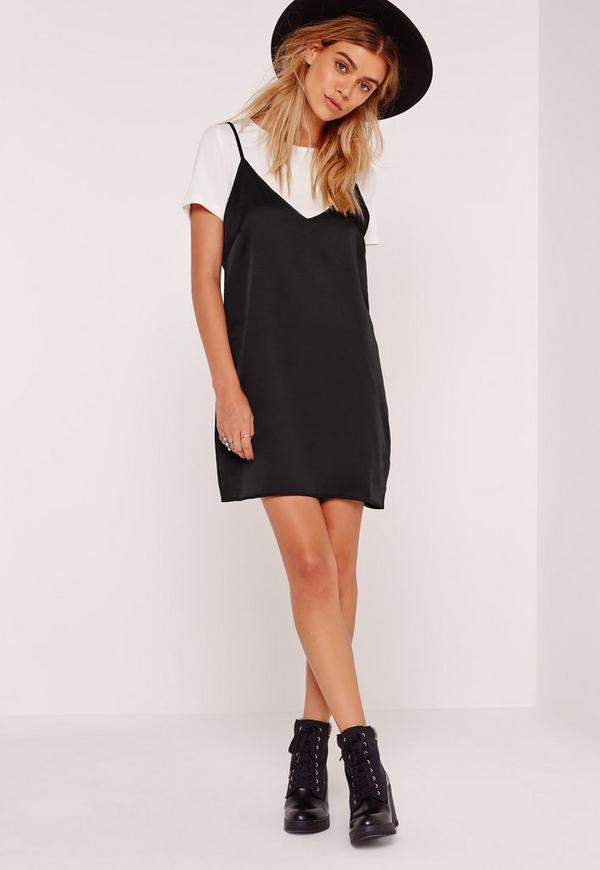 Petite T-shirt Insert Cami Dress Blackufeff | Missguided Australia