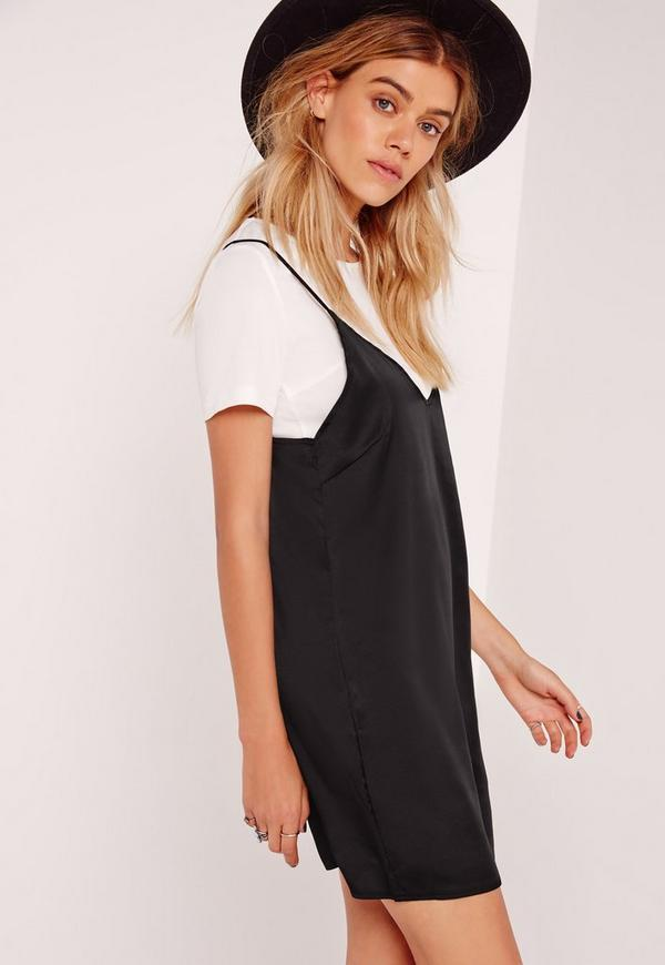 50 50 Outlet >> Petite T-shirt Insert Cami Dress Black | Missguided
