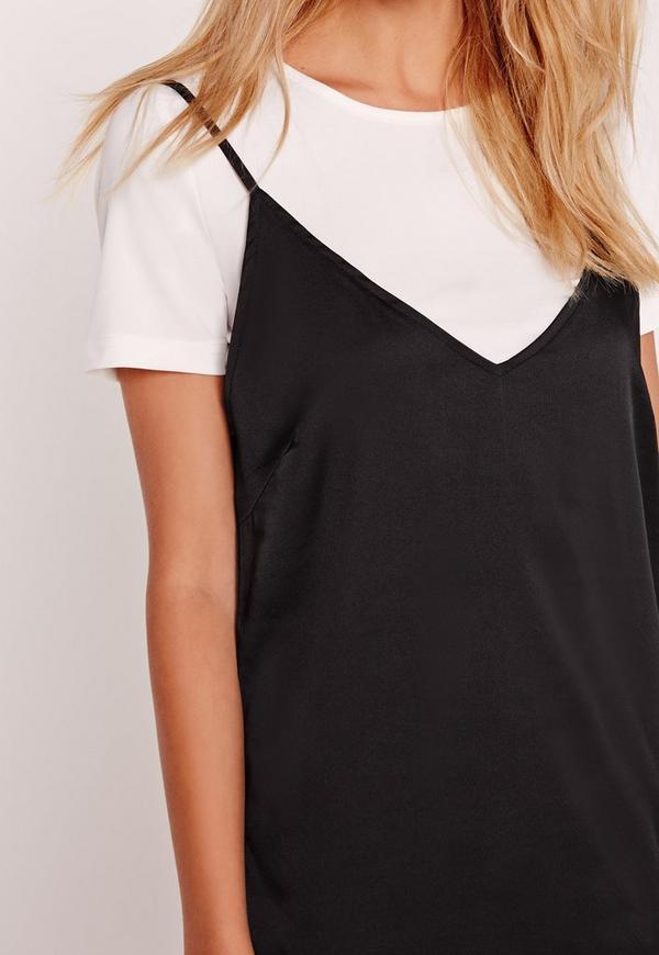 Petite T Shirt Insert Cami Dress Black Missguided