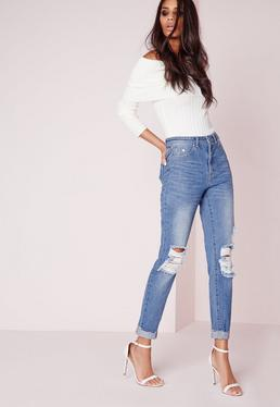 Petite Riot High Rise Ripped Knee Slim Leg Jeans Blue