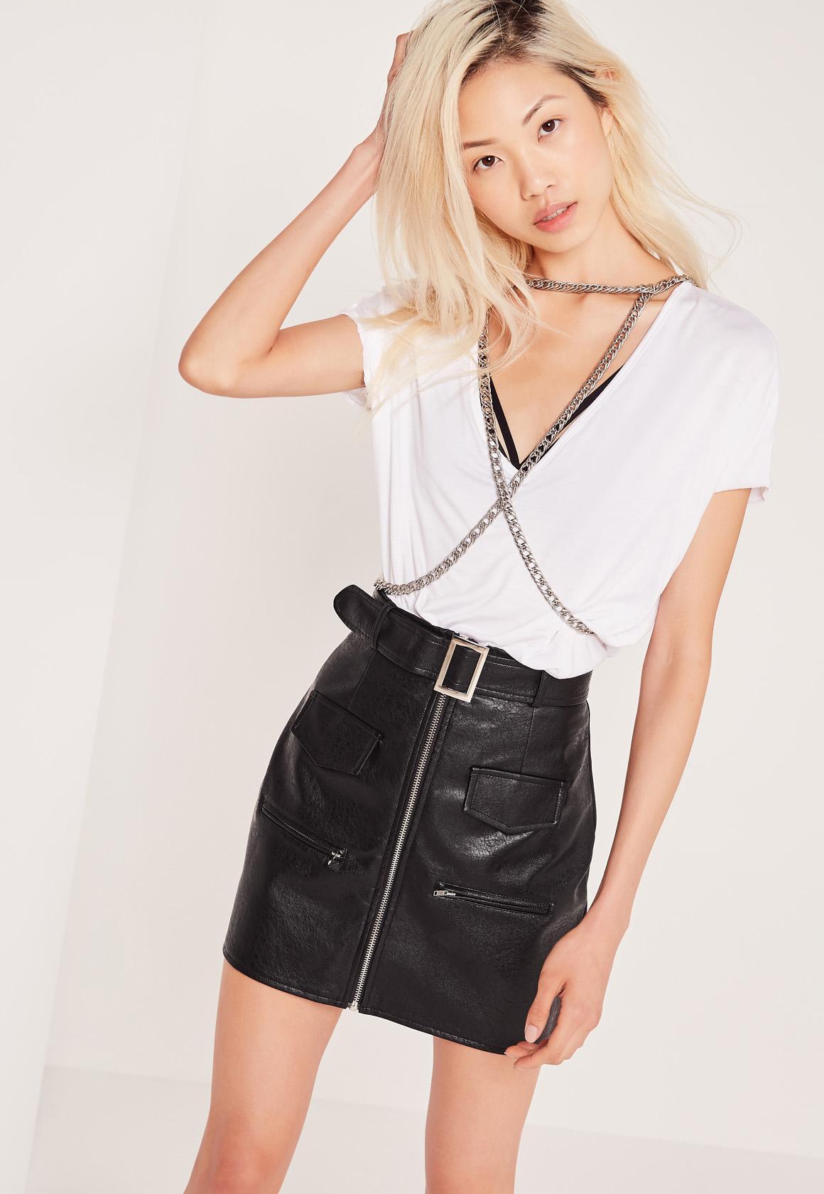 9da0981324 Petite Exclusive Buckle Zip Faux Leather Mini Skirt Black | Missguided