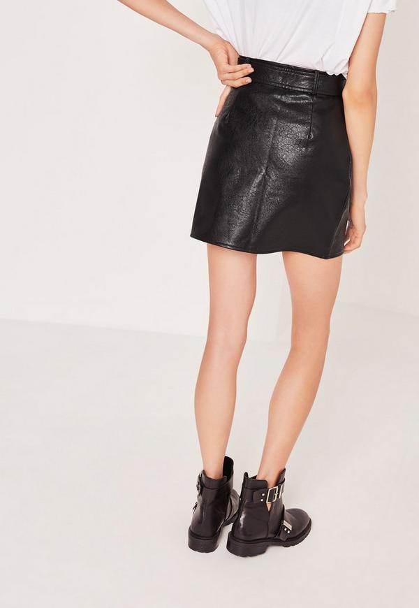 Petite Exclusive Buckle Zip Faux Leather Mini Skirt Black | Missguided