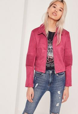 Petite Exclusive Faux Suede Biker Jacket Pink