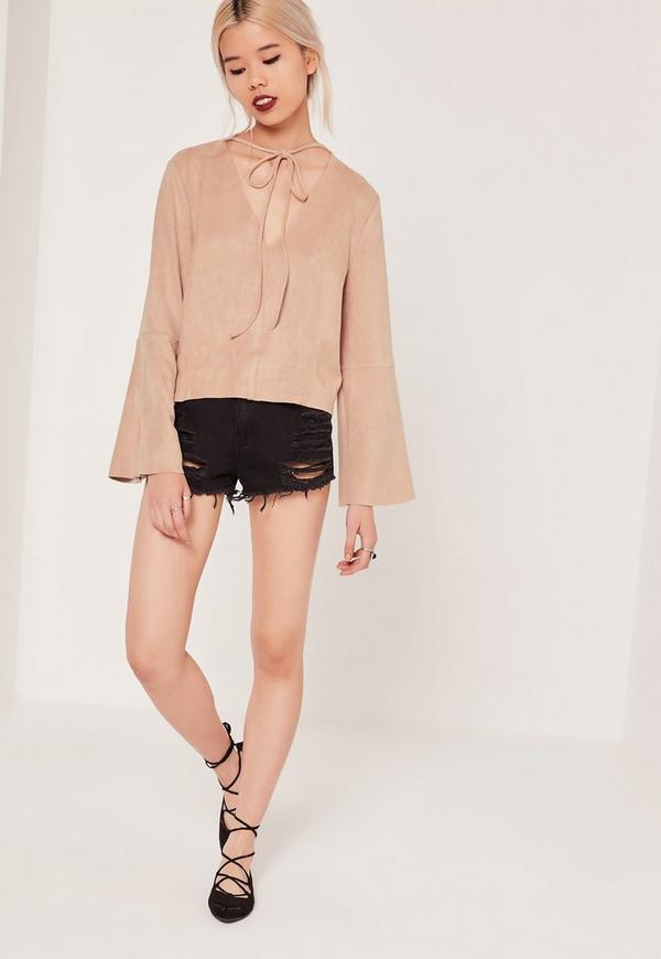 Petite Exclusive Bell Sleeve Faux Suede Top Pink