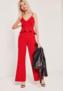 Petite Exclusive Red Wide Leg Trousers