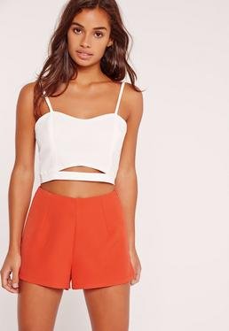 Petite High Waisted Tailored Shorts Co Ord Red
