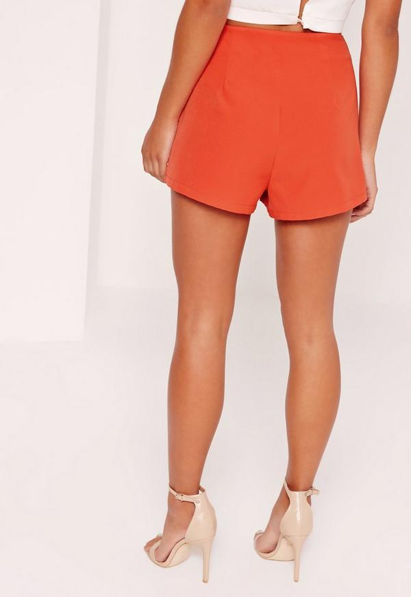 Petite High Waisted Tailored Shorts Co Ord Red | Missguided