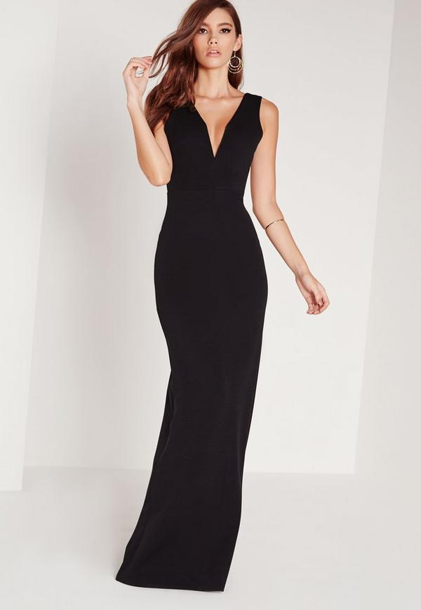 petite v plunge scuba maxi dress black | Missguided