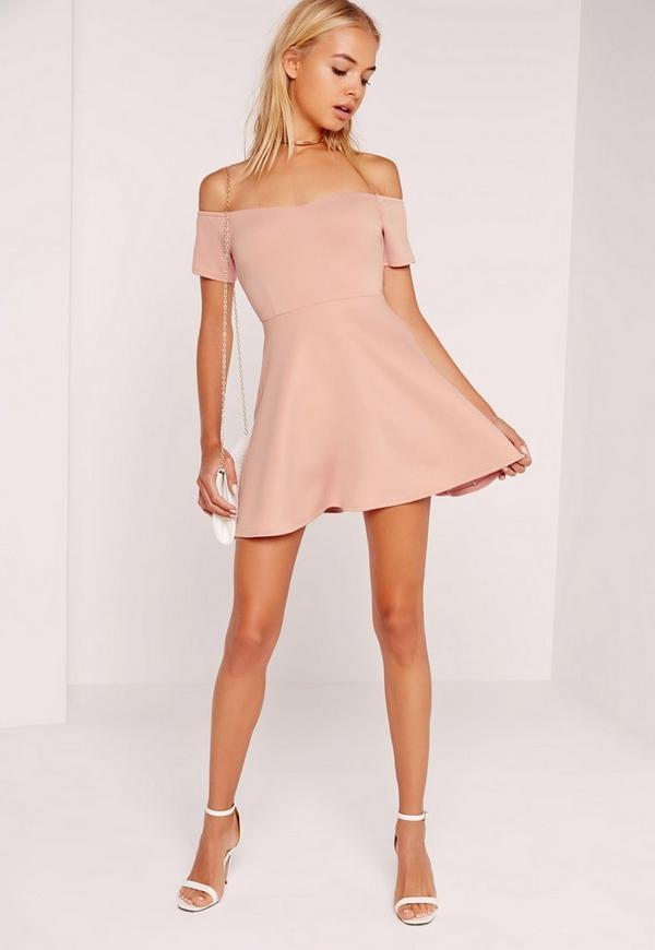 Petite Exclusive Scuba Skater Dress Pink