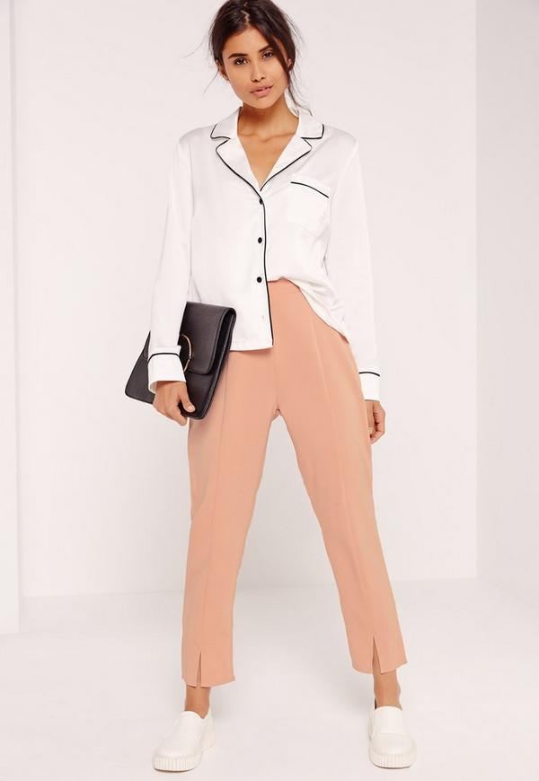 Petite Exclusive Split Front Cigarette Trousers Nude
