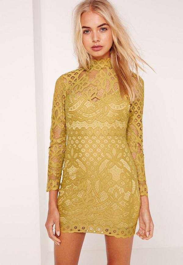 Petite Lace High Neck Mini Dress Chartreuse Green