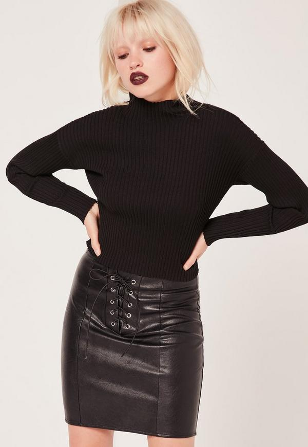Petite Eyelet Lace Up Faux Leather Mini Skirt Black | Missguided