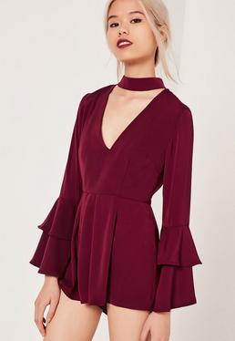 Petite Exclusive Bell Sleeve Choker Neck Playsuit Red