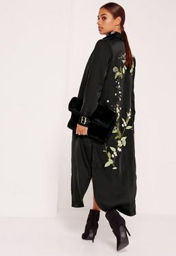 Petite Embroidered Satin Duster Jacket Black