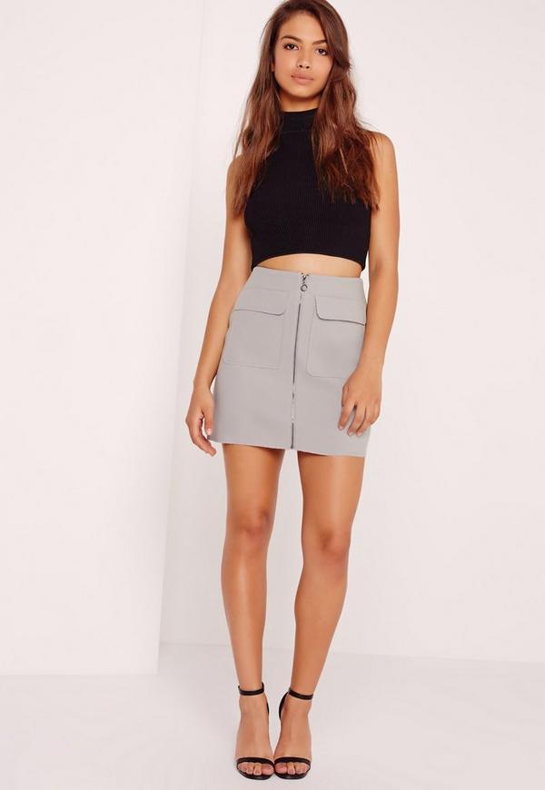 Petite Exclusive Zip Pocket Mini Skirt Grey
