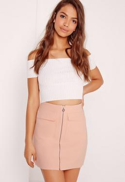 Petite Exclusive Zip Pocket Mini Skirt Nude
