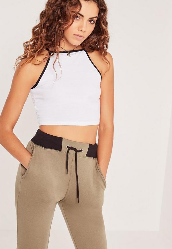 Petite Exclusive Contrast Binding Ribbed Crop Top White