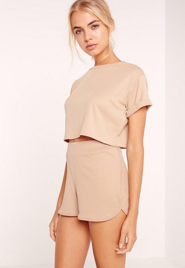 Petite Exclusive Ribbed Crop T Shirt Camel
