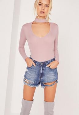 Petite Exclusive Ribbed Choker Bodysuit Lilac