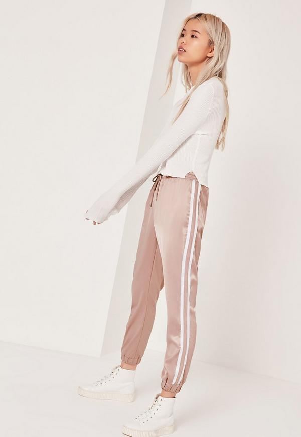 Petite Stripe Panel Satin Joggers Nude