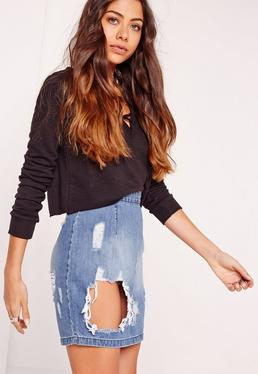 Petite Open Rip Denim Mini Skirt Blue