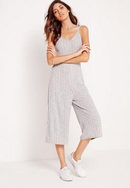 Petite Ribbed Strappy Culotte Jumpsuit Grey