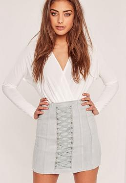 Petite Exclusive Faux Suede Lace Up Eyelet Mini Skirt Grey