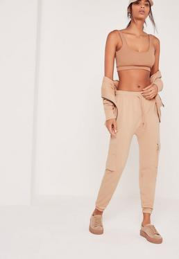 Petite Side Pocket Cropped Joggers Nude