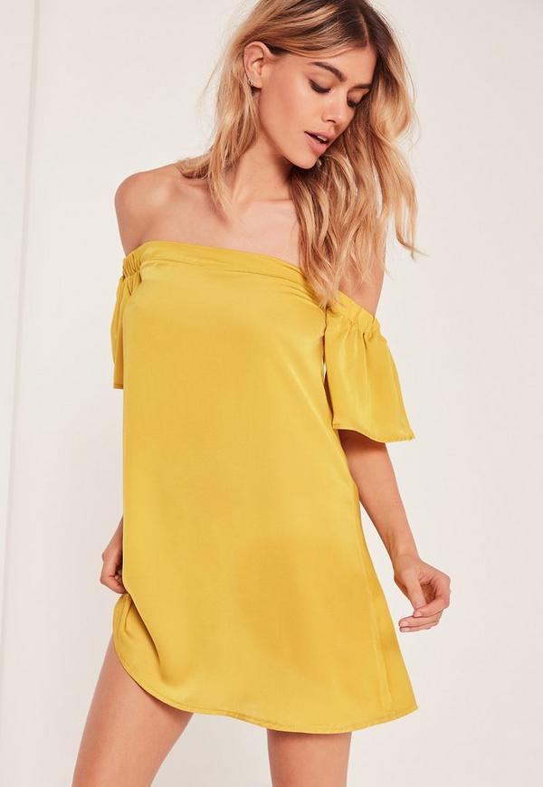 Petite Bardot Swing Dress Yellow