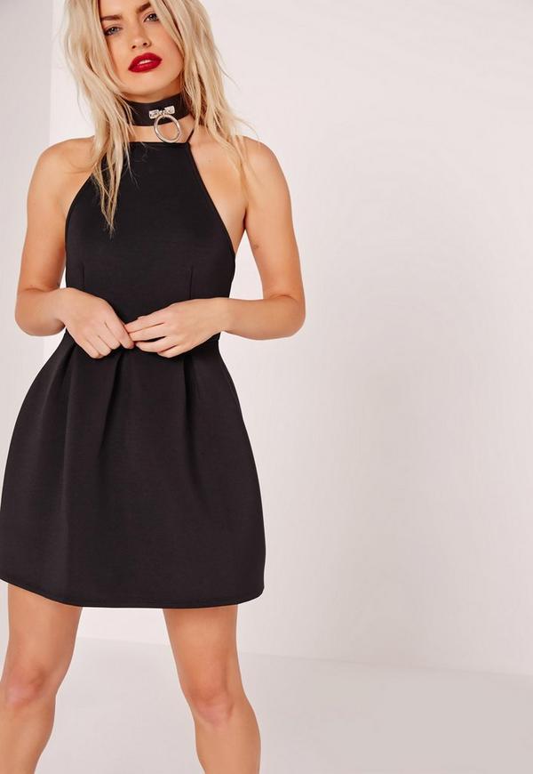 Petite Square Neck Skater Dress Black