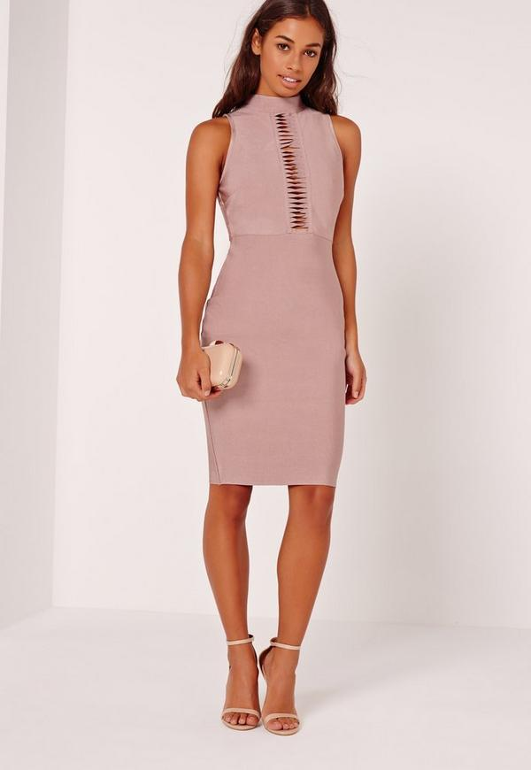 Petite Premium Bandage Slashed Bust Midi Dress Lilac