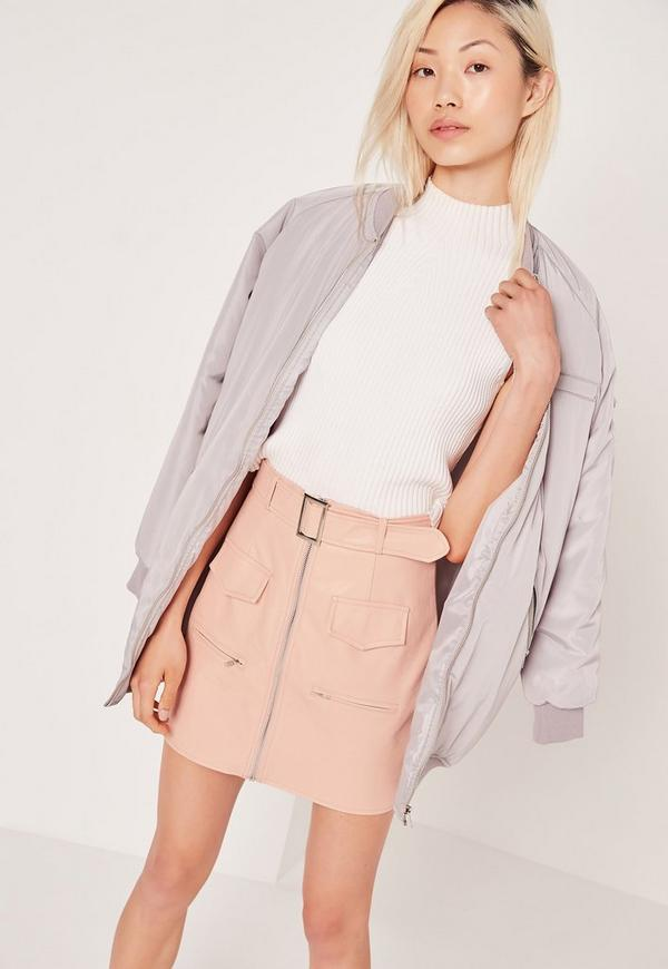 Petite Exclusive Buckle Zip Faux Leather Mini Skirt Nude