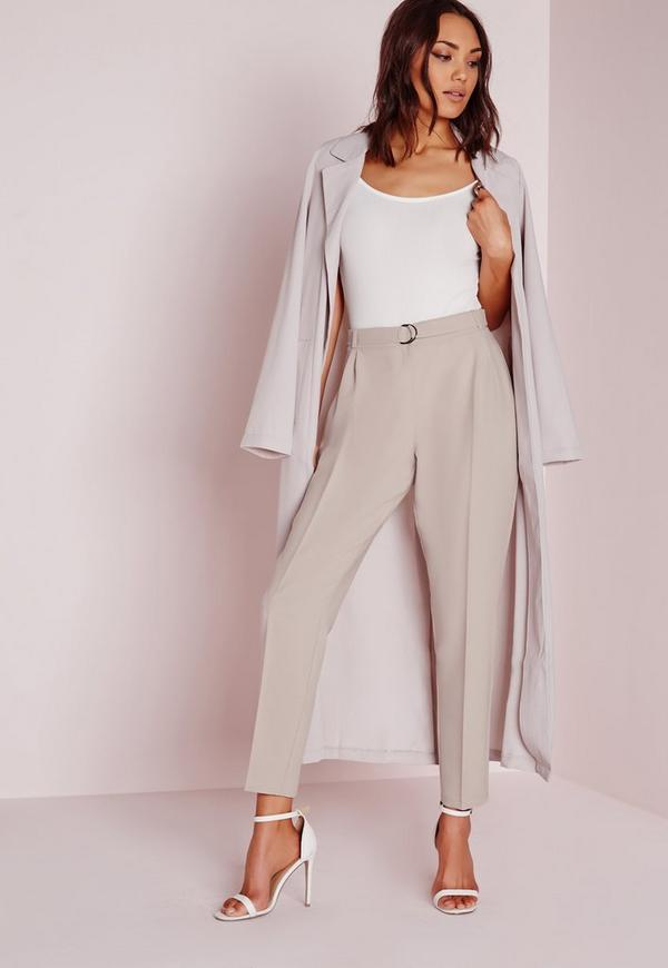 Petite Belted High Waisted Cigarette Trousers Grey