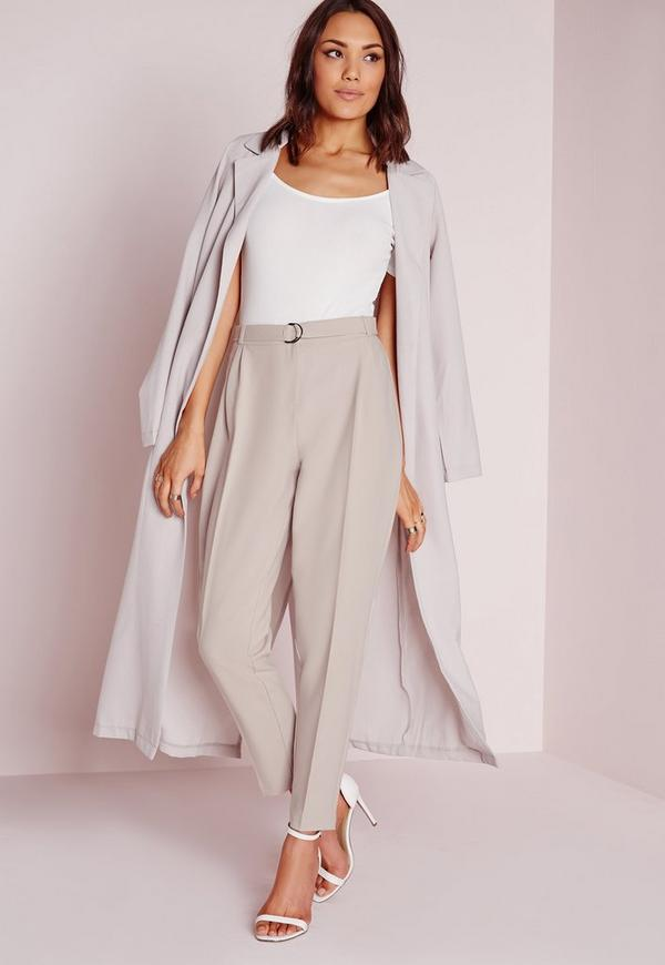 Petite Belted High Waisted Cigarette Pants Grey