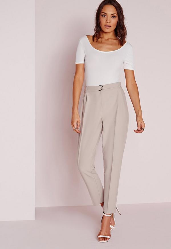 Petite Belted High Waisted Cigarette Trousers Grey ...